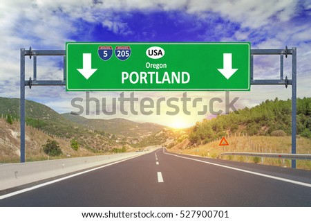 US city Portland road sign on highway