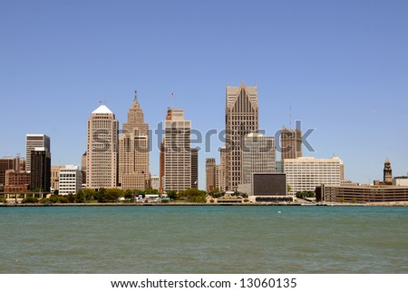 US city skyline and downtown - Detroit - stock photo