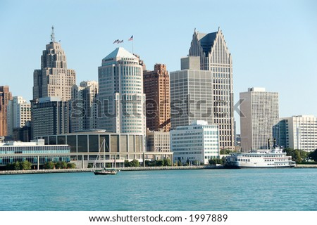 US city skyline and waterfront daytime - stock photo