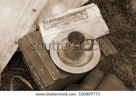 US Civil war memorabilia in vintage sepia - stock photo