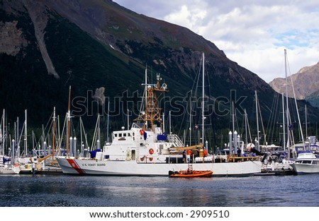 US Coast guard at the harbor. - stock photo