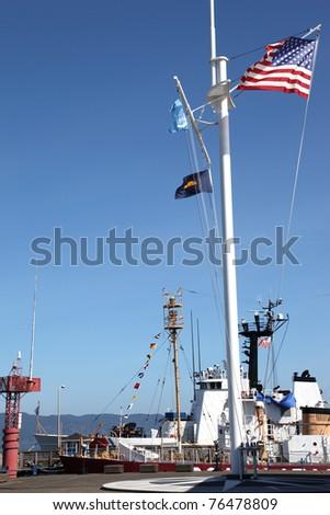 US coast guard ship & marine moment, Astoria Oregon. - stock photo