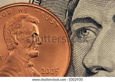 US coin and paper money - stock photo