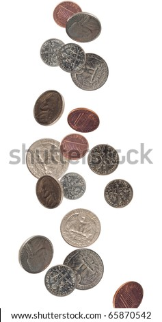 us coinage shot as if falling - stock photo
