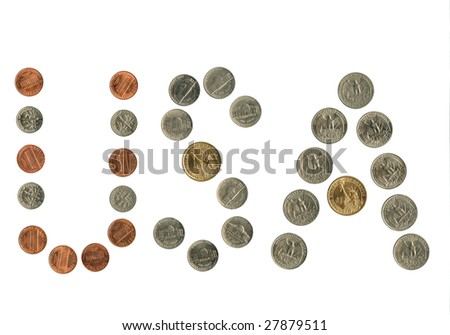 Us coins arrangement as the name of the country.