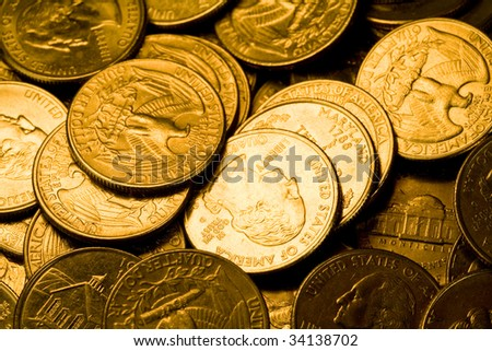 US Coins close up shot