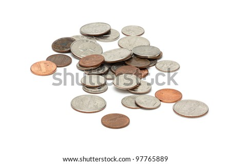 US coins on a white background