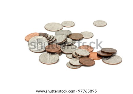 US coins on a white background - stock photo