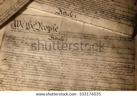 US Constitution document, showing Article 1 - stock photo
