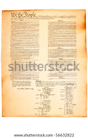 US Constitution on Parchment paper on isolated white - stock photo