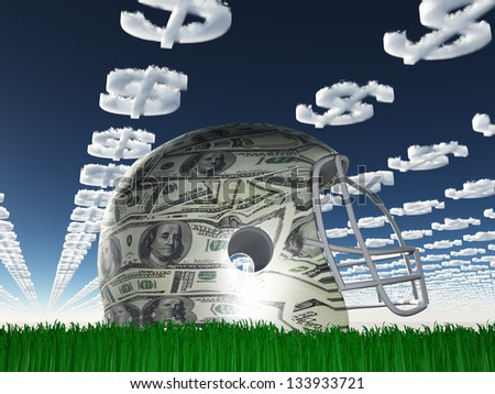 US Currency Helmet on Grass with Dollar Symbol Clouds - stock photo