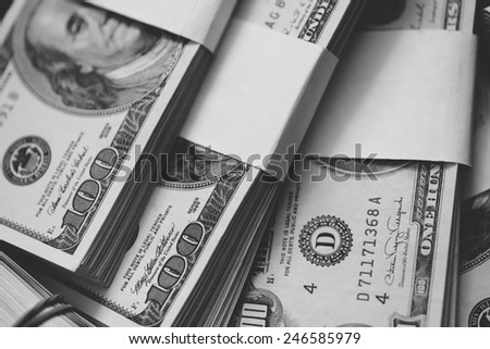 US currency in closeup. - stock photo