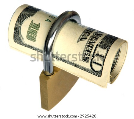 US currency locked up in a padlock - stock photo