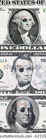 US currency with black eyes and band aids concept of bad US economy