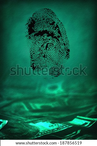 US currency with fingerprint - stock photo