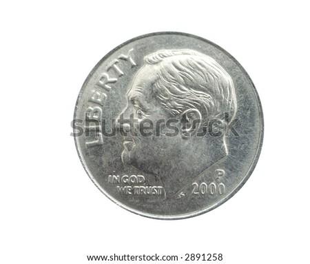 US Dime on white background - stock photo
