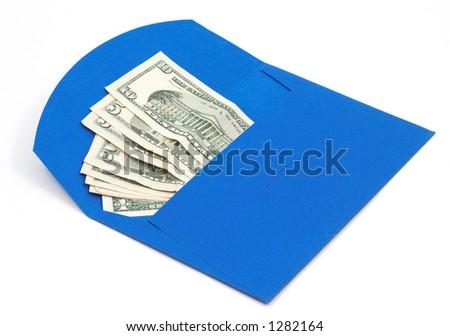 us dolars in blue envelope - stock photo