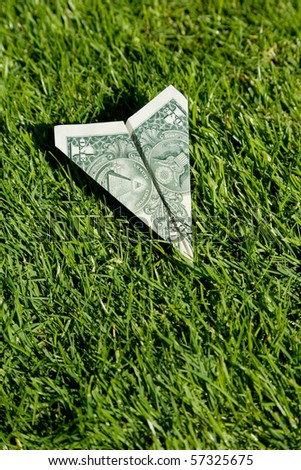 US Dollar Airplane and green grass, concept of Environmental Conservation - stock photo
