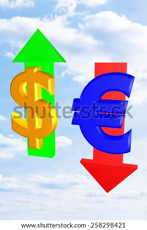 US dollar and euro signs in the exchange rate - stock photo
