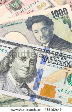 US Dollar and Japanese Yen banknote money