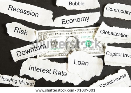 US dollar and negative newspaper headlines - stock photo