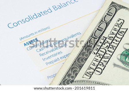US dollar banknote on the balance sheet