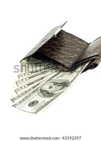 US dollar banknotes in old leather wallet (shallow DOF) - stock photo