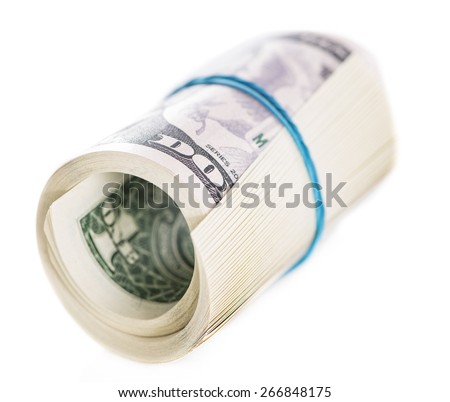 US Dollar banknotes isolated on pure white background