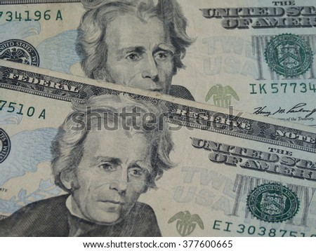 US dollar banknotes - twenty-dollar bill featuring President Andrew Jackson (1829-1837) on the front side - stock photo