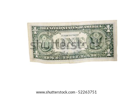 us dollar bill isolated on white - stock photo