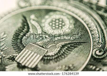 US Dollar bill, super macro, close up photo, eagle - stock photo