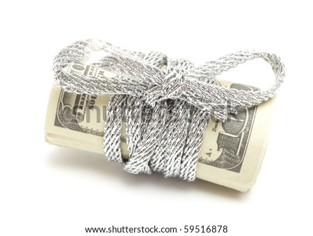 US Dollar Bill Tied - stock photo