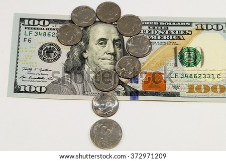 US dollar bills and coins