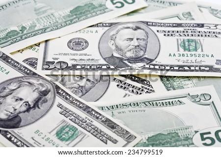 US Dollar bills, close up - stock photo