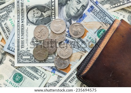 US dollar bills coins background wallet