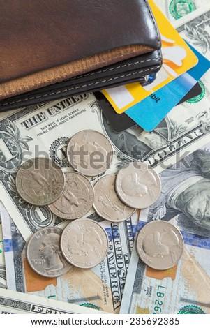 US dollar bills credit cards wallet - stock photo