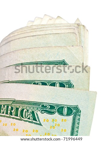 US dollar bills isolated on white with clipping path - stock photo