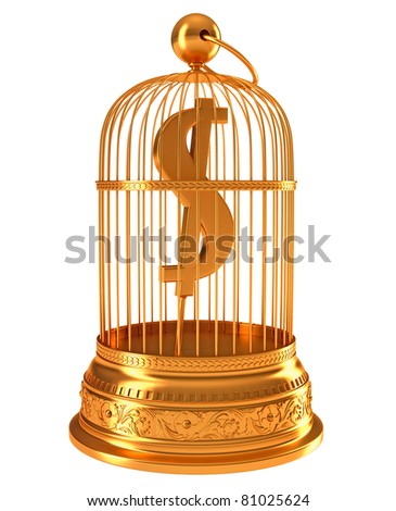 US dollar currency symbol in golden birdcage isolated over white