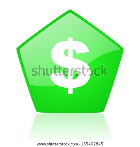 us dollar green pentagon web glossy icon