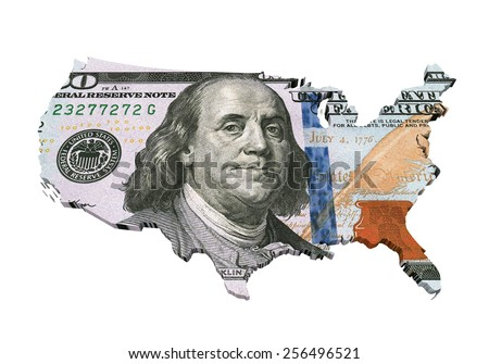 US Dollar Map - stock photo