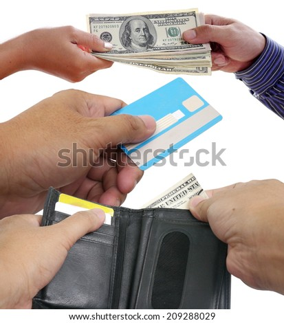 US $ Dollar Money , ATM , in your wallet - stock photo