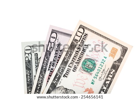 US dollar money isolated on white. - stock photo