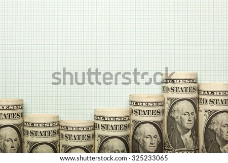 US dollar notes forming an uptrend graph