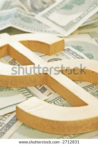 Us dollar sign close up on currencies, shallow dof