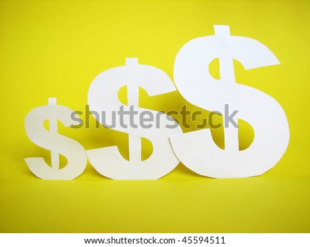 us dollar sign cut from paper - stock photo