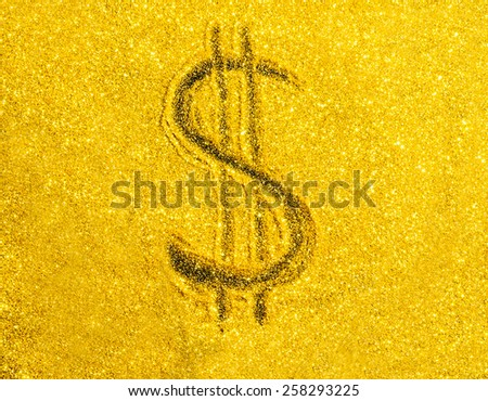 US Dollar symbol on gold color background. - stock photo