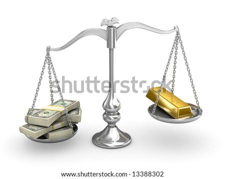 US Dollar vs Gold - stock photo