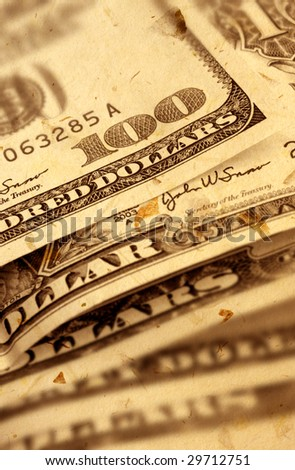 US dollar with old textured paper - stock photo