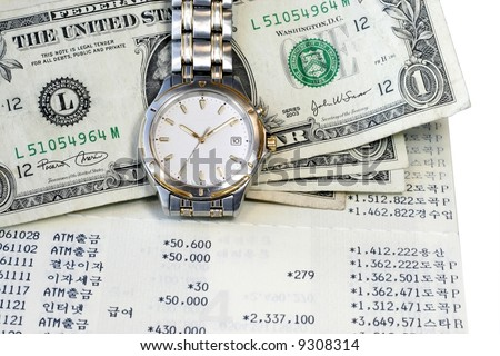 US Dollar wristwatch and passbook page portray  Time and Money - stock photo