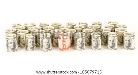 US dollars and Russian ruble banknotes - stock photo